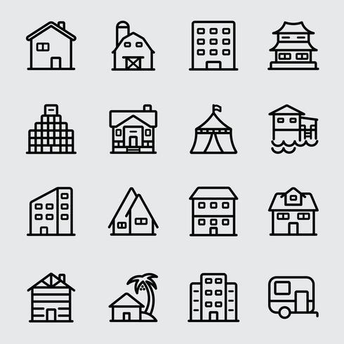 Accommodatie lijn pictogram vector