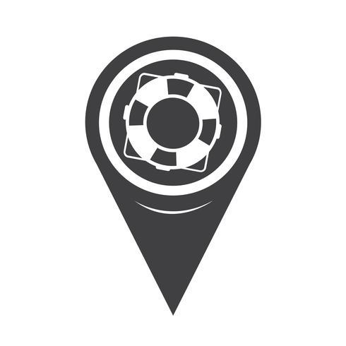 Kaart aanwijzer reddingsboei pictogram vector