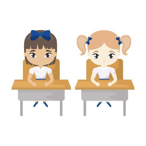kleine studentenmeisjes zitten op schoolbanken vector