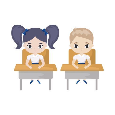 kleine studenten zitten op schoolbanken vector