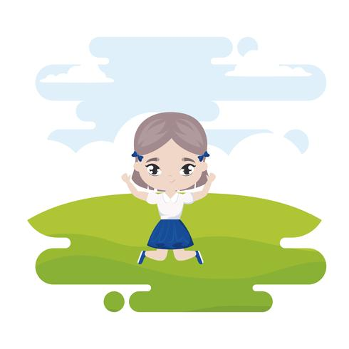 schattig klein studentenmeisje in landschapsscène vector
