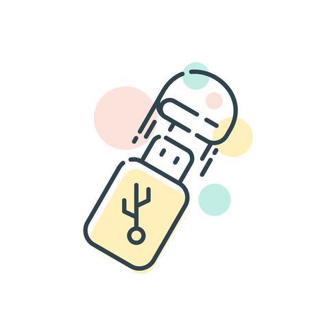 Eenvoudige USB of USB Stick opslag platte pictogram Vector