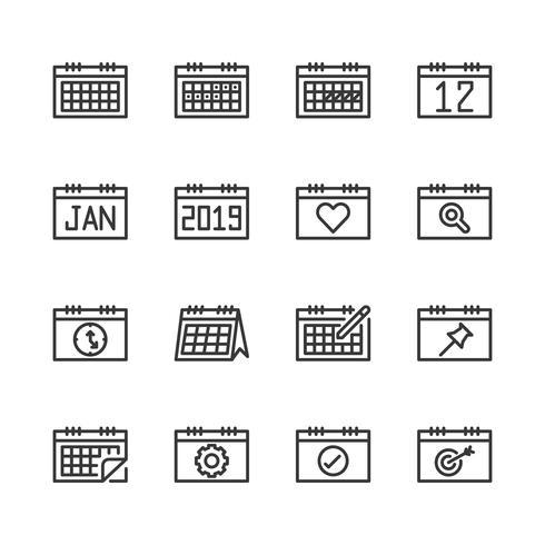 Kalender gerelateerde icon set. Vector illustratie
