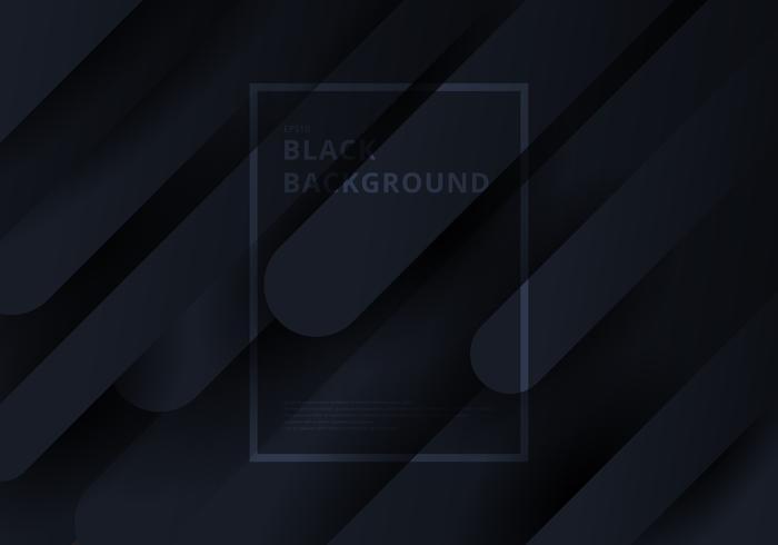 Zwarte diagonale geometrische dynamische vormen afgeronde compositie op donkere achtergrond. vector