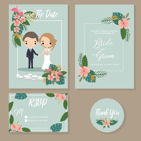 schattig paar in tropische bruiloft uitnodigingen ingesteld vector