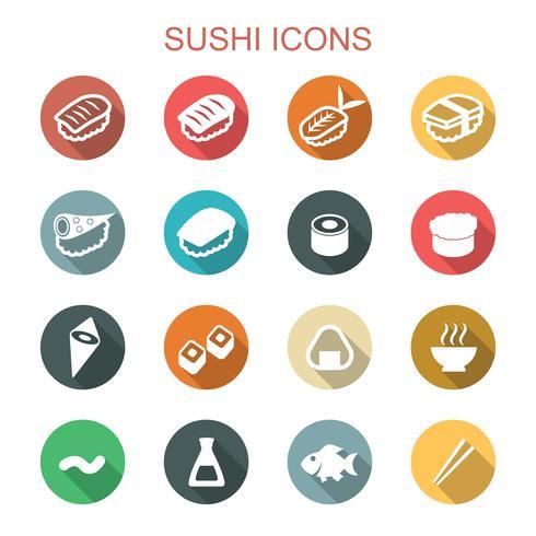 sushi lange schaduw pictogrammen vector