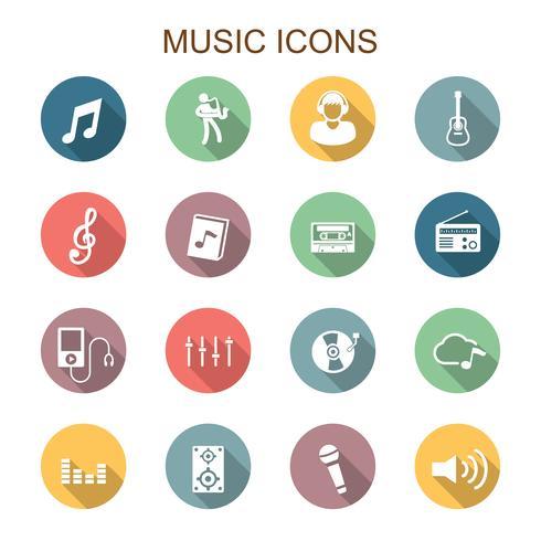 muziek lange schaduw pictogrammen vector