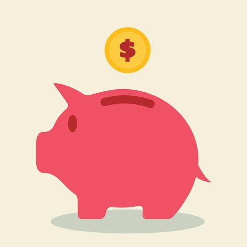 spaarvarken en munt vector