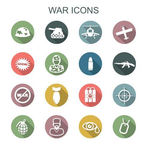 oorlog lange schaduw pictogrammen vector