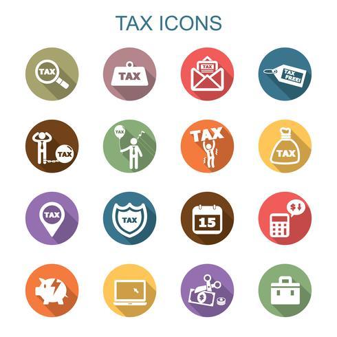 belasting lange schaduw pictogrammen vector