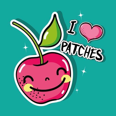 tropische kawaii appel patches fruit ontwerp vector