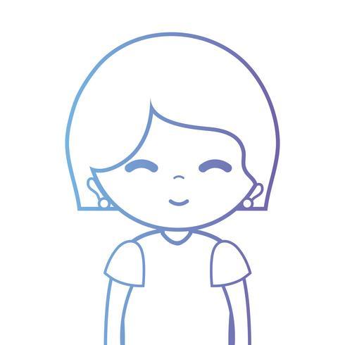 lijn vrouw met kapsel en blouse vector