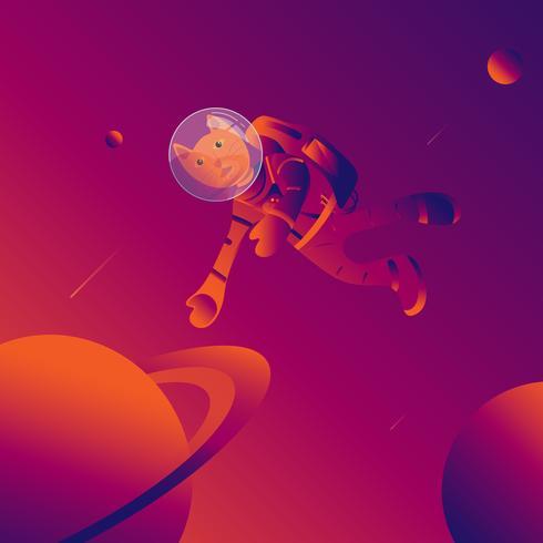 De kattenman in astronautenkostuum op melkweg. wetenschap en uit ruimteconcept. vector