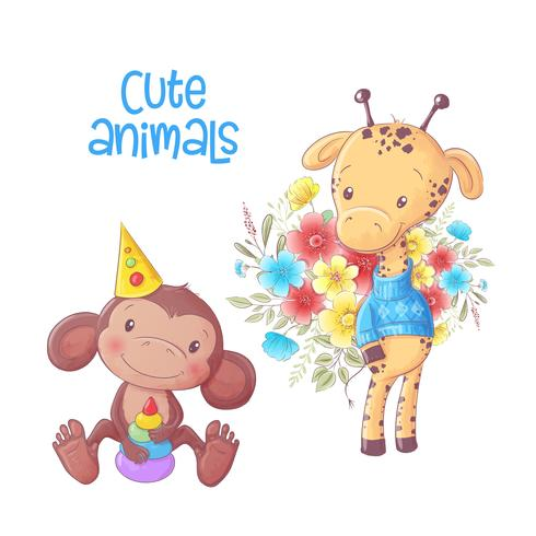 Leuke cartoon dieren aap en giraffe hand tekenen. vector