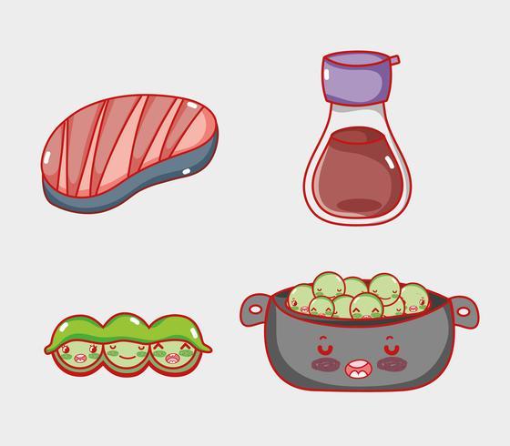 Japanse gastronomie schattige kawaii cartoons vector