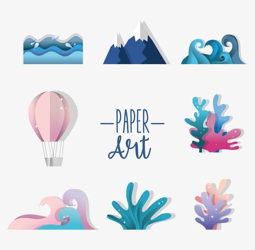 Set van papier kunst iconen vector