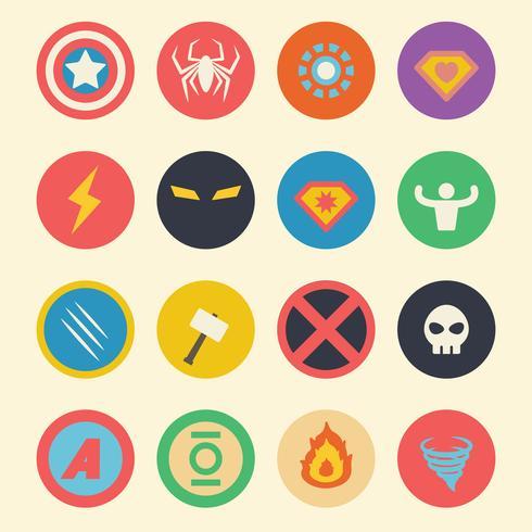 superheld plat pictogrammen vector