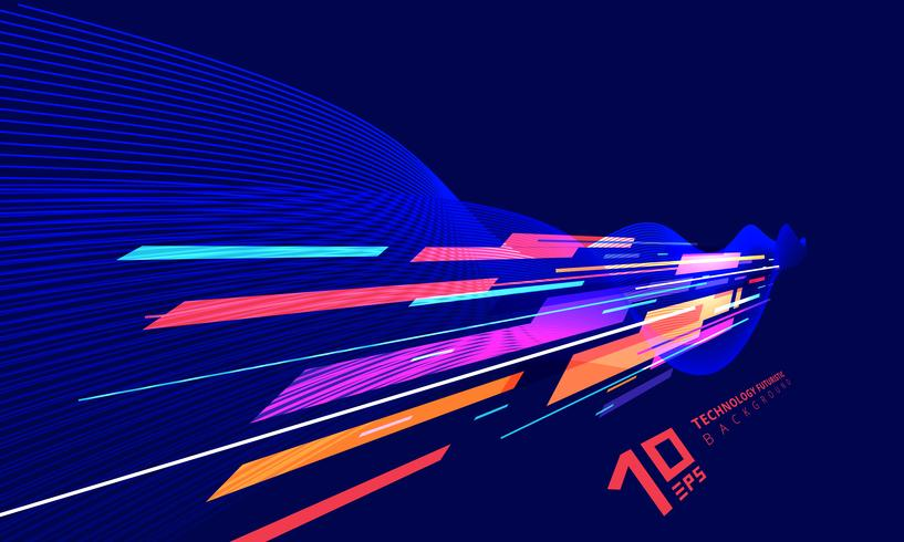 Abstracte geometrische perspectieftechnologie en draailijnen kleurrijk op donkerblauwe achtergrond. vector