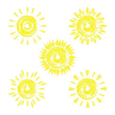 Set van grappige vector doodle zon. Om uw ideeën te ontwerpen.