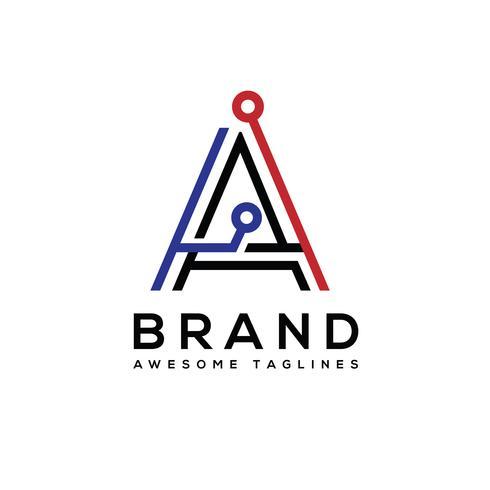 creatieve beginletter Een tech-logo vector, perfect voor technologie slim logo-, computer- en gegevensgerelateerd bedrijf vector