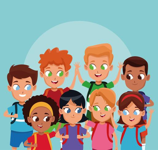 School jongens en meisjes tekenfilms vector