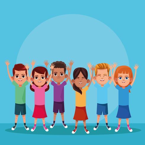 Leuke kinderen lachend met armen omhoog vector