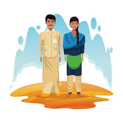 Indiase paar india cartoon vector