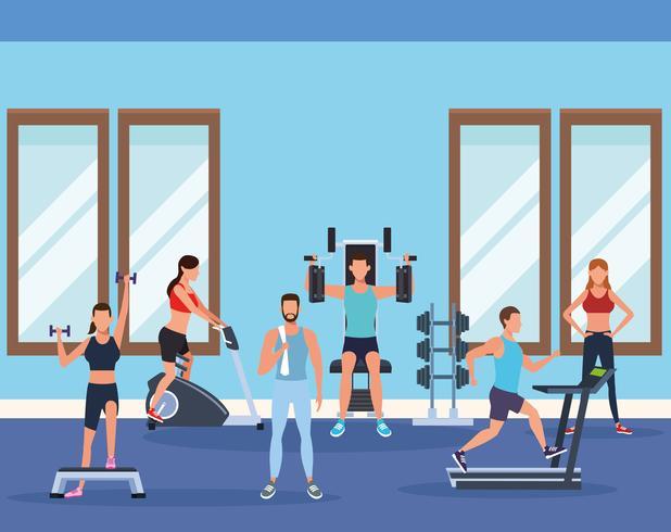 heren fitness doen oefening vector