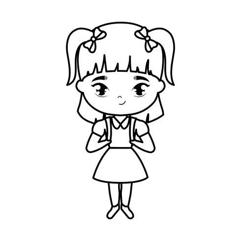 schattige kleine student meisje avatar karakter vector