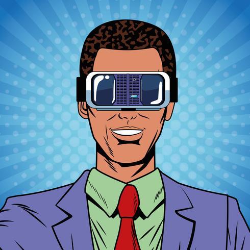 Zakenman virtual reality popart cartoon vector