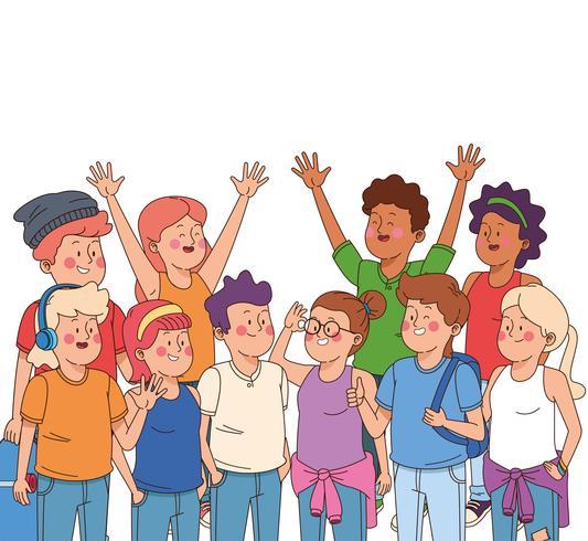 Tieners jongens en meisjes tekenfilms vector