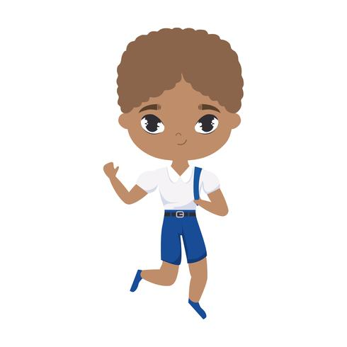 schattige kleine student jongen afro avatar karakter vector