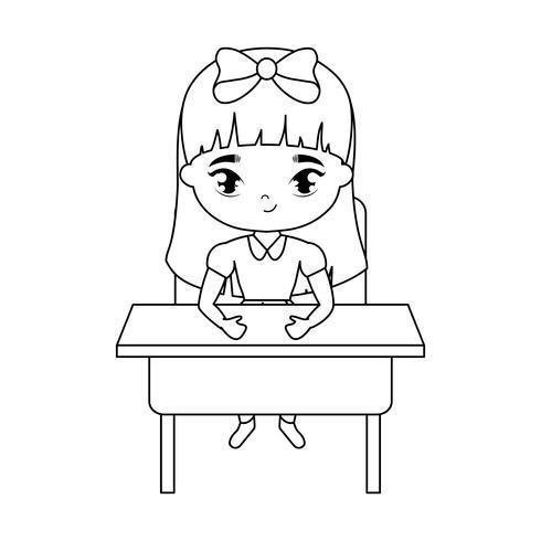 kleine student meisje zit op school bureau vector