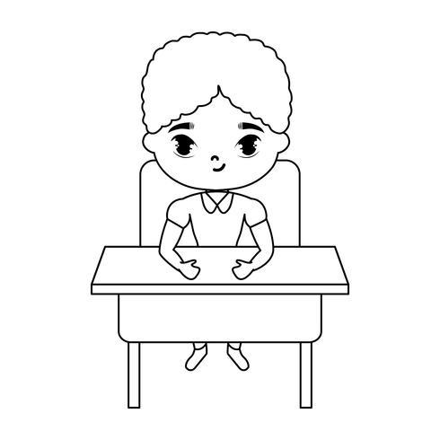kleine student jongen zitten op school bureau vector