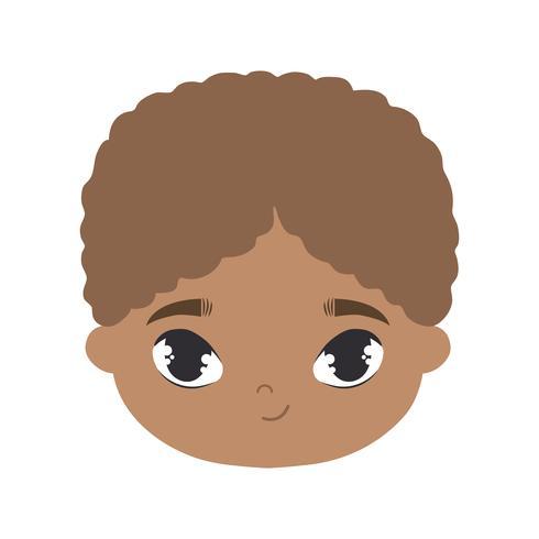 hoofd van schattige kleine jongen afro avatar karakter vector