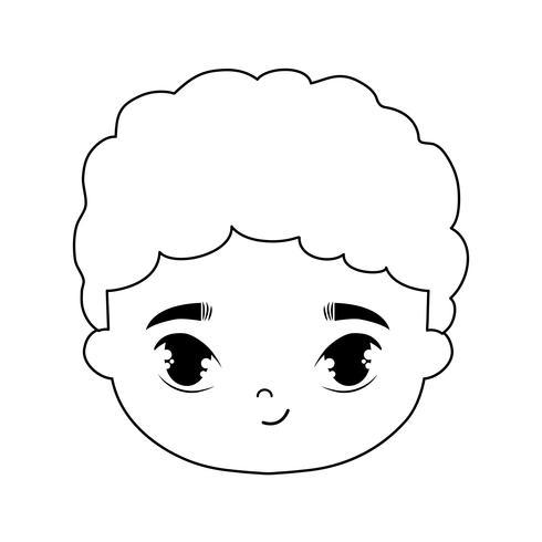 hoofd van schattige kleine jongen avatar karakter vector