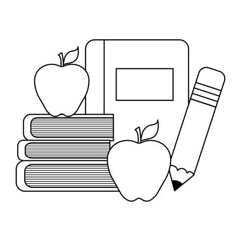 schoolboek met benodigdheden school vector