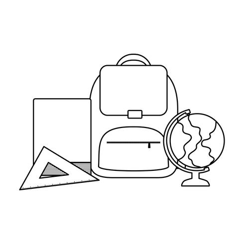 schooltas met benodigdheden school vector