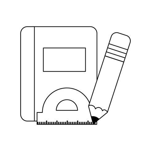 schoolboek met potlood en lopende band vector