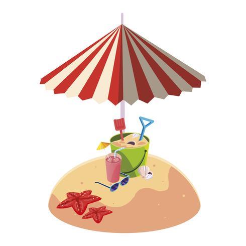 zomer zandstrand met paraplu en zand emmer speelgoed vector