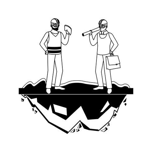 mannelijke bouwer aannemer werknemer met architect baas vector