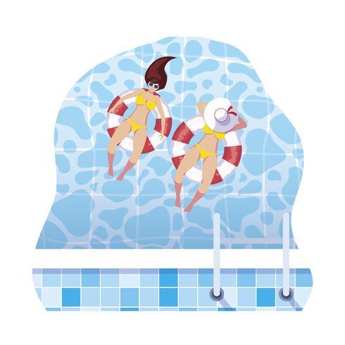 meisjes met zwempak en badmeester drijven in water vector