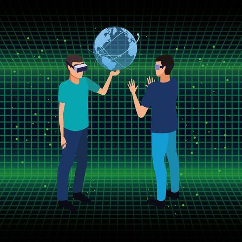 Mensen spelen met virtual reality vector