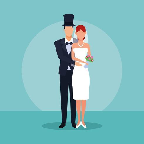bruidspaar knuffelen vector