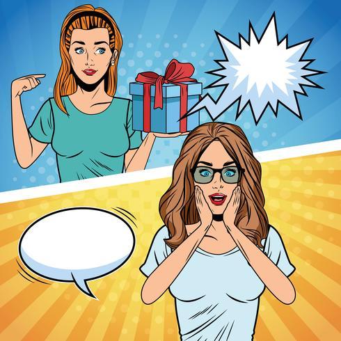 popart vrouwen verjaardag cartoon vector
