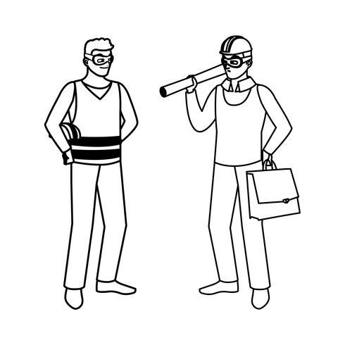 mannelijke bouwer aannemer met architect baas vector