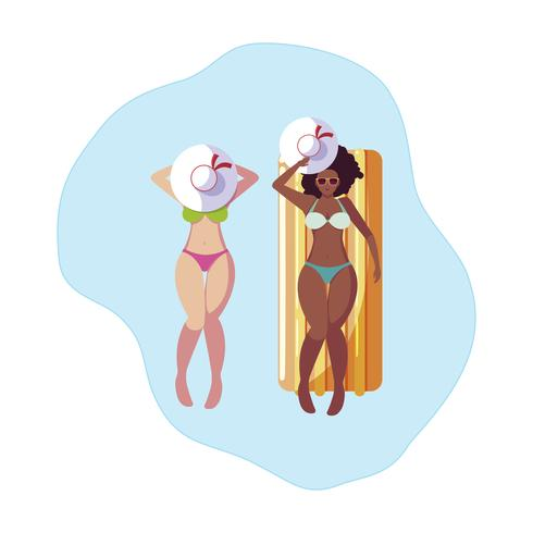mooie meisjes tussen verschillende rassen met vlottermatras in water vector