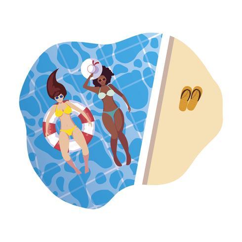 interraciale meisjes met zwembroek en badmeester drijven in water vector