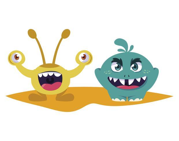 grappige monsters koppelen kleurrijke stripfiguren vector