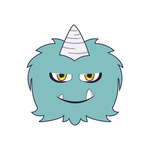 grappig monster met hoorn komisch karakter vector
